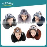 Toprank Custom Elastic Fabric Printed Animal Travel Hoodie Neck Pillow U Shape Microbead Travel Neck Pillow With Hoodie