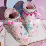 Aidocrystal Hot sale Short height women ankle winter snow shoes pink bling cute wedge boots for girls
