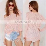 latest sweater designs for girls loose knit scoop neckline lightweight pink knitted sweater