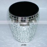 Iron vase with glass mosaic other colours available