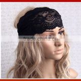 New Design Woman Wide Black Lace Headband/Hot Selling Bohemia Stretchy Lace Pattern Hollow Out Headband Wide Headband