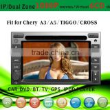 car dvd vcd cd mp3 mp4 player fit for Chery A3 A5 Tiggo with radio bluetooth gps tv pip dual zone