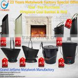2016 fireplace accessories ash coal bucket powder coated black metal coal bucket