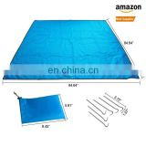 CE standard Cheap foldable sand free beach mat with 6 stakes Custom compact nylon parachute outdoor waterproof picnic blanket