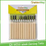 Hot Selling 12 Pieces High Quality Wooden Carving Hand Tool Set for Basic Woodcut