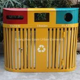 3 compartments outdoor metal recycling trash bin recycle station