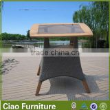 Teak wood simple style cheap aluminum outdoor table 27002