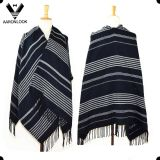 Unisex Woven Acrylic Fashion Big Striped Shawl with Fringes