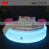 New design luxury Circle shape LED lighting hotel bed with remote control