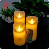 Remote control pure <b>wax</b> customized <b>flameless</b> waving flame <b>candle</b> light for wedding christmas decoration