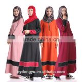 women fashion chiffon patch muslim dress/ymy muslim abaya kaftandress/ islamic muslim women dress