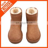 classical brown wool ankle short boots