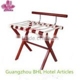 Hotel folding wooden luggage rack with PU leather strips