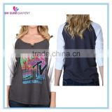wholesale hot style womens raglan long sleeve shirt