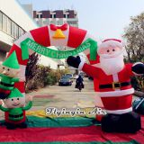 3m Height Inflatable Christmas Arch with Santa for Entrance and Outdoor Decoration