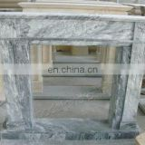 grey white marble fireplace frame