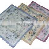 Lady's cotton waved edge flower face tissue