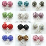 Many colors colorful ball shaped 925 sterling silver stud earrings JE2416