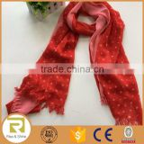 Wholesale 100% Polyester stars printed fringed shawl scarf