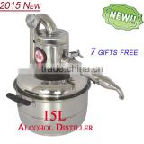 High Quality Household Stainless Steel 15L Home Alcohol Distiller For Sale With Thermometer Spirits(Alcohol) Distillation Boiler
