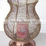 Metal home decoration woven knitted candle pillar holder with copper finish base
