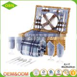 Wholesale new style rectangular brown large willow wicker picnic basket for 4 persons