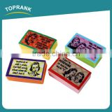 Toprank New Design Printed 4pcs Kitchen Cleaning Sponge Dish Scrubber Pad Nonwovens Sponge Scouring Pad