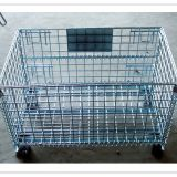 Collapsible Steel Storage Cage Wire Mesh Container Zinc Plated