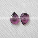 fuchsia flat facet water drop glass stone for jewelry design