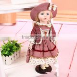 Vintage Ceramic Porcelain Doll with Metal Stand