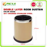 Small Indoor Hotel Room Commercial Dobel Layer Round Cylinder Waste Bin Trash Can