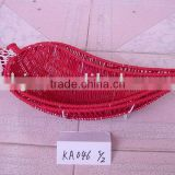 Red chilli paper rope woven decorated basket for fruit