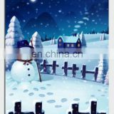 Cute snowman water print,LED light canvas oil painting for halloween