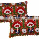 Indian Suzani Cushion Cover Bolster long Pillow Embroidered Pillow cover Cushion Embroidered Ethnic decorative Vintage cases