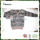 Camouflage Jersey V-neck Army Sweater with patches