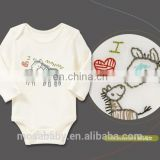 Hot Sale Baby Cotton Jumpsuit Long Sleeve With Embroidered Zebra Pattern 0-24 Months