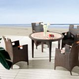 Outdoor Furniture Table And Chair Teak Wood Arm Rest PE Rattan Wicker Powder Coating Aluminum Frame Waterproof Fabric