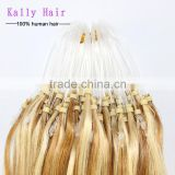 Two tone Brazilian micro ring loop hair extension raw unprocessed virgin hair
