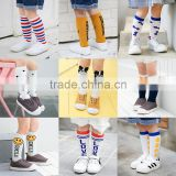 B40548A Low MOQ knee high knitted boys stockings smile stockings