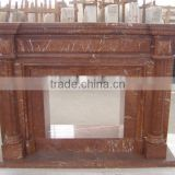 Red electric marble stone fireplace mantels