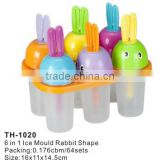 Rabbit Shape 6pcs in 1 Ice Mould/Plastic Ice Cream MouldTH-1020