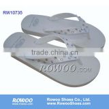 Ladies Plain white Slippers with decoration