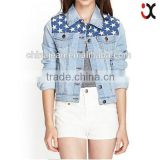 wholesale price <b>jean</b> jacket women denim jacket with star print JXF214