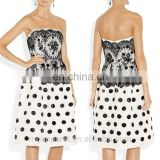 china new prom dress patterns sexy off the shoulder polka dot dress embellished silk and lace lady dress