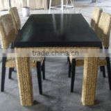 water hyacinth furniture, dining set with wooden frame