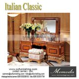 YB62 European Style Wooden Makeup Dresser With Mirror, Luxury Antique Wedding Bedroom Set, Wedding Decoration