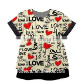 The latest style heart to heart with the heart of the small girls cotton short sleeve wholesale