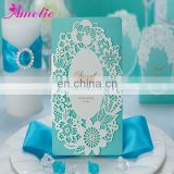 ACW002 Elegant Blue Color Laser Cut 2014 Wedding Invitation Card