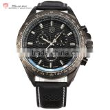 Shark Branded 24 Hours Display Genuine Leather Band Men's Trendy Military Sport Men Watch