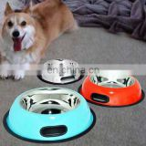 Hot selling stainless steel round coloured dog bowl / pet water bowl